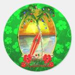 Beach Mele Kalikimaka Round Sticker