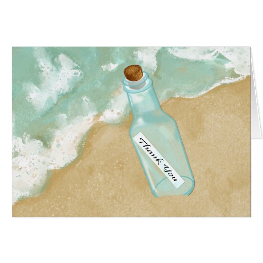 Beach Message In A Bottle Thank You Card