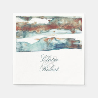 Beach Modern Watercolor Starfish Wedding Disposable Napkin