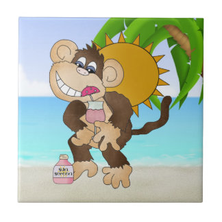 Beach Monkey cartoon fun tile