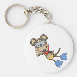 Beach Monkey Snorkeling Tshirts and Gifts Basic Round Button Key Ring