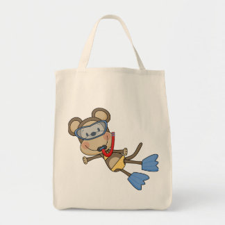 Beach Monkey Snorkeling Tshirts and Gifts Grocery Tote Bag