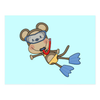 Beach Monkey Snorkeling Tshirts and Gifts Postcard