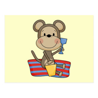 Beach Monkey With Bucket Tshirts and Gifts Postcard