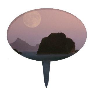 Beach Moonset Rockaway Cake Toppers