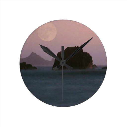 Beach Moonset Rockaway Wall Clock