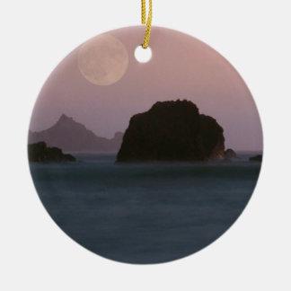 Beach Moonset Rockaway Christmas Tree Ornaments
