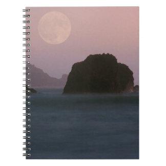 Beach Moonset Rockaway Spiral Notebooks