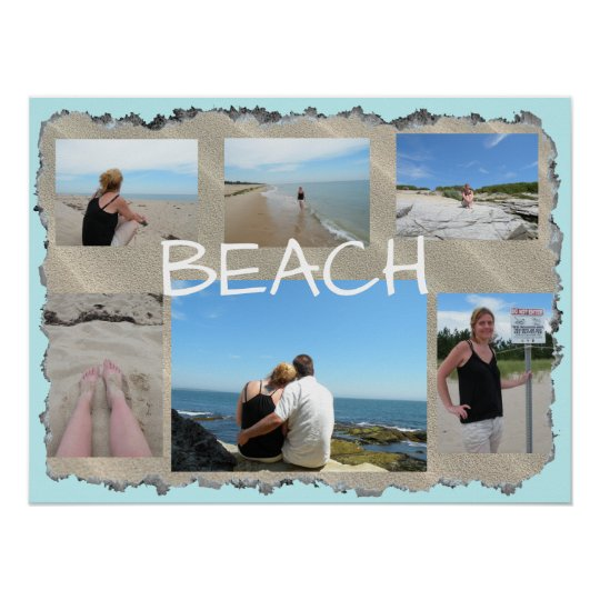 Beach Multi Picture Personalised Poster