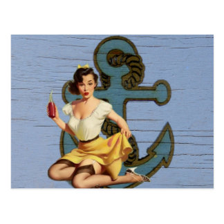 beach nautical anchor vintage pin up girl postcard