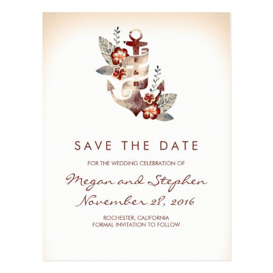 Beach - Nautical Floral Anchor Save the Date