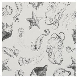 Beach Nautical Ocean Theme Black and White Ink Fabric