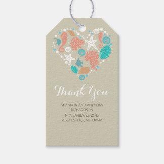 Beach Nautical Ocean Treasures Heart Wedding Gift Tags