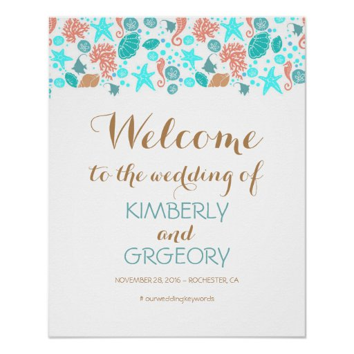Beach Nautical Ocean Wedding Welcome Sign