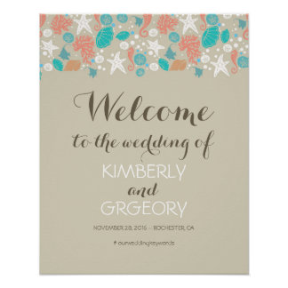 Beach Nautical Ocean Wedding Welcome Sign