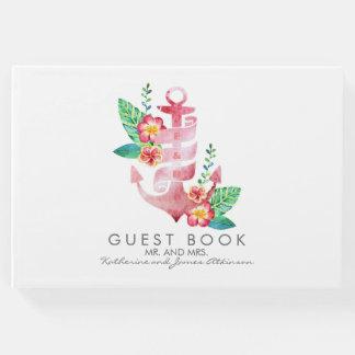 Beach - Nautical Pink Floral Anchor Wedding Guest Book