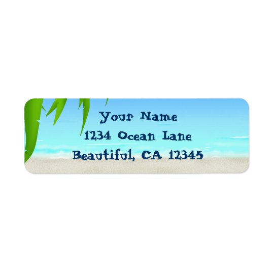 Beach, Ocean and Palm Tree Fronds Return Address Label