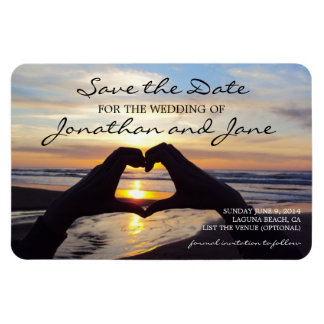 Beach Ocean Love Heart Wedding Save the Date Magnet