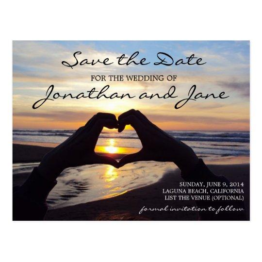 Beach Ocean Love Heart Wedding Save the Date