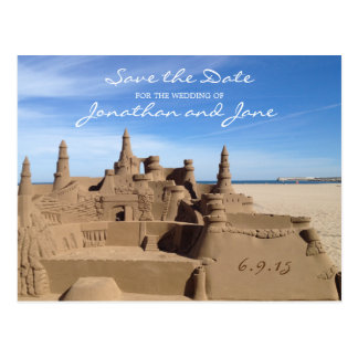 Beach Ocean Love Sandcastle Wedding Save the Date Postcard
