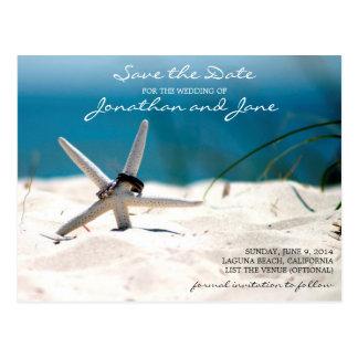 Beach Ocean Rings Starfish Wedding Save the Date Postcard