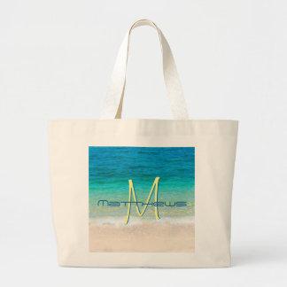 Beach Ocean Sand Waves Blue Monogram Name Tote