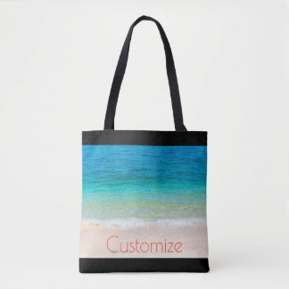 Beach Ocean Sand Waves Blue Your Text Tote