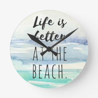 Beach Ocean Themed Decor Watercolor Clock