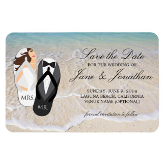 Beach Ocean Tropical Wedding Deluxe Save the Date Magnet