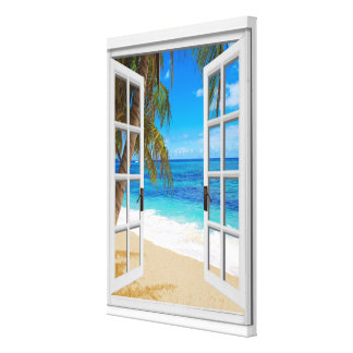 Beach Ocean View Faux Window Canvas Print