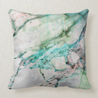 Beach Ocean Water Gray Mint Silver Gold Marble Cushion