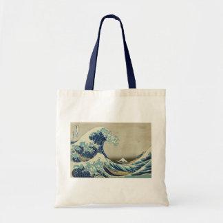 Beach Ocean Water Sea Art Great_Wave_off_Kanagawa Canvas Bags
