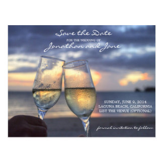 Beach Ocean Wedding Champagne Glass Save the Date Postcard