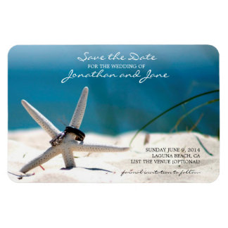 Beach Ocean Wedding Rings Starfish Save the Date Rectangular Photo Magnet