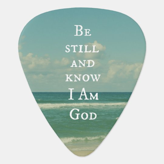 Beach Ocean with Be Still Bible Verse Guitar