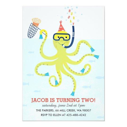 Beach Octopus Kid's birthday party Invitation