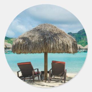 Beach on Bora Bora round sticker