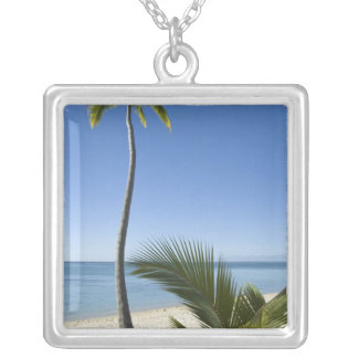 Beach on mainland Aitutaki, Cook Islands Silver Plated Necklace