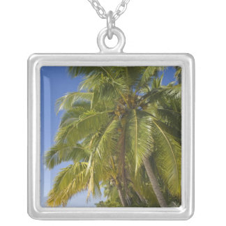 Beach on One Foot island, Aitutaki, Cook Islands Silver Plated Necklace