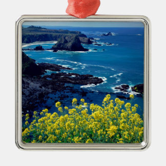 Beach Pacific Coastline Wildflowers Mendocino Christmas Ornament