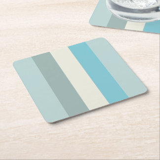 Beach Palette Stripe Square Paper Coaster