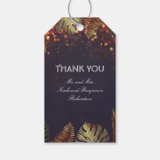Beach Palm Leaves and String Lights Wedding Gift Tags