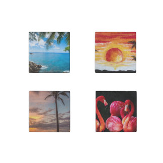 Beach Palm Sand Custom Personalize Anniversaries Stone Magnet