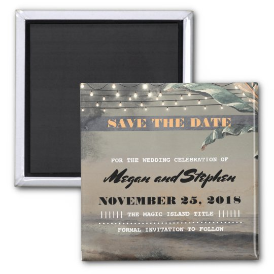 Beach Palm String Lights Vintage Save the Date