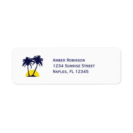 Beach Palm Tree Address Avery Label