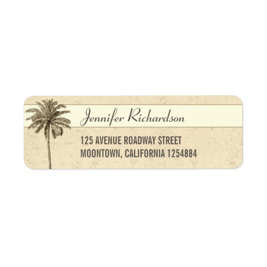 beach palm tree return address labels