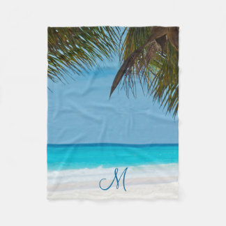 Beach Palm Trees Add Photo Fleece Blankets