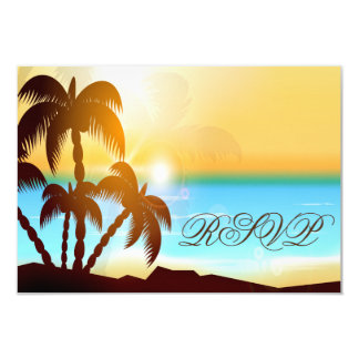 Beach Palm Trees Destination Wedding RSVP Cards