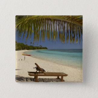 Beach, palm trees & lounger 15 cm square badge