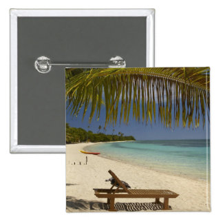 Beach, palm trees & lounger 15 cm square badge